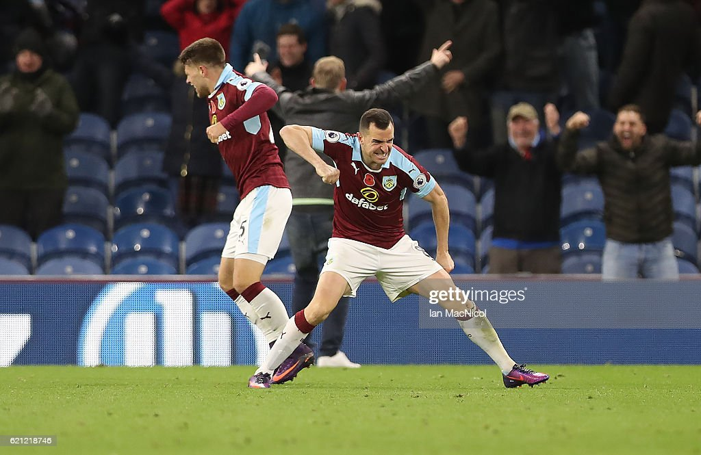 Dean Marney of Burnley celebrates his teams winning goal during the Premier League match between Burnley and Crystal Palace at Turf Moor on November 5, 2016 in Burnley, England.