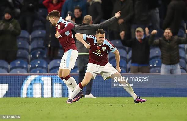 Dean Marney of Burnley celebrates his teams winning goal during the Premier League match between Burnley and Crystal Palace at Turf Moor on November...