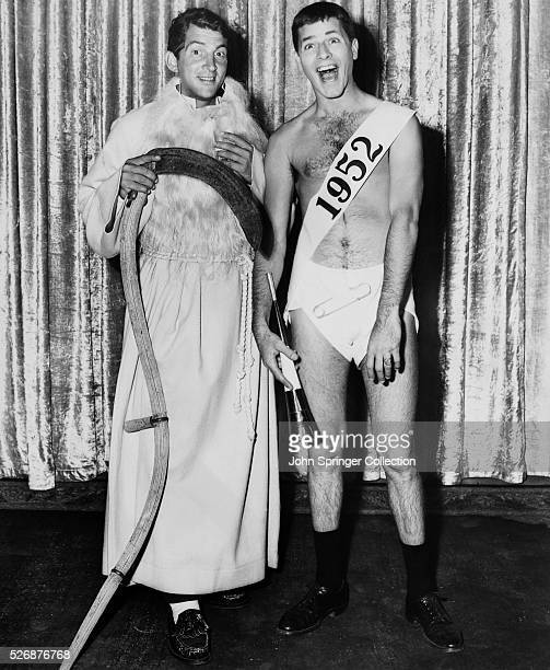Dean Martin and Jerry Lewis in costume for the 1951 comedy Sailor Beware