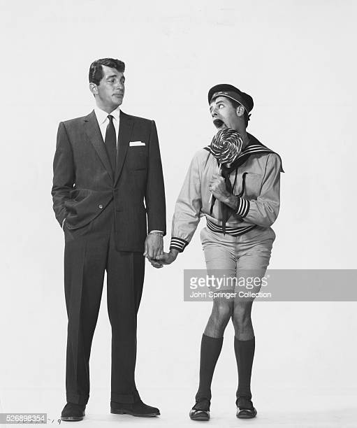 Dean Martin as Bob Miles and Jerry Lewis as an immature Wilbur Hoolick in the 1955 film You're Never Too Young