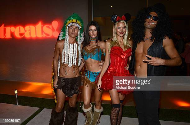 Dean May Brittany Brousseau and Joe Francis attend the Treats Magazine Annual Halloween Party at a private residence on October 31 2012 in Los...