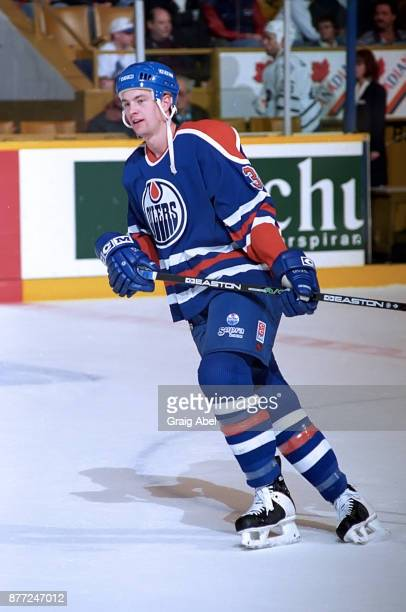 Dean McAmmond of the Edmonton Oilers skates against the Toronto Maple Leafs during NHL game action on April 13 1996 at Maple Leaf Gardens in Toronto...
