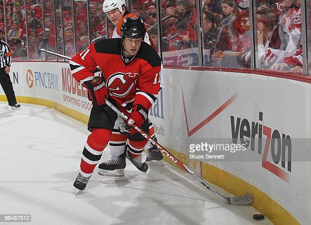 Dean McAmmond of the New Jersey Devils skates against the Philadelphia Flyers in Game One of the Eastern Conference Quarterfinals during the 2010 NHL...