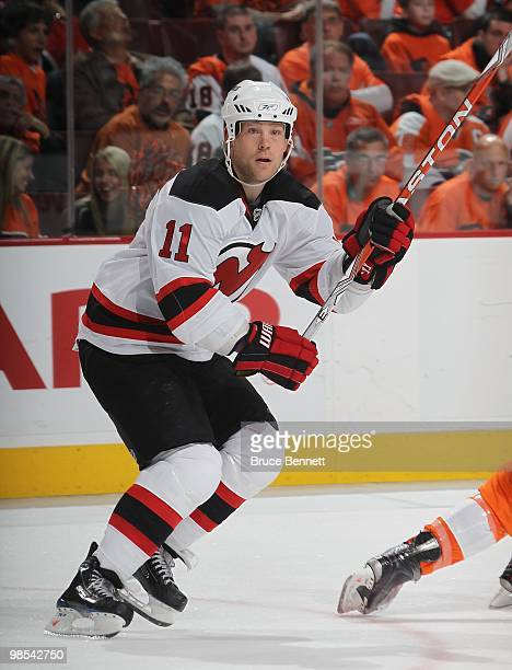 Dean McAmmond of the New Jersey Devils skates against the Philadelphia Flyers in Game Three of the Eastern Conference Quarterfinals during the 2010...