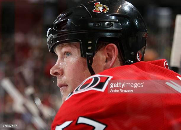 Dean McAmmond of the Ottawa Senators makes his return to the lineup against the the Atlanta Thrashers at Scotiabank Place on November 1 2007 in...