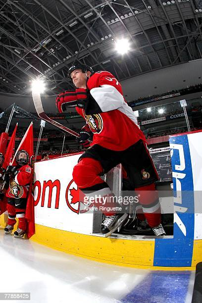 Dean McAmmond of the Ottawa Senators steps onto the ice before a game against the the Atlanta Thrashers at Scotiabank Place on November 1 2007 in...
