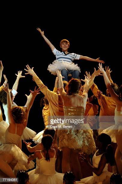 """Dean McCarthy performs on stage during the 1000th performance of """"Billy Elliot"""" at the Victoria Palace Theatre on October 4, 2007 in London, England."""