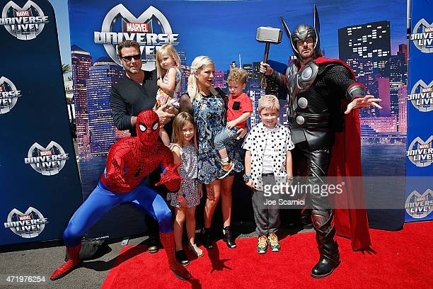 Dean McDermott and Tori Spelling and family arrive at Marvel Universe LIVE! Celebrity Red Carpet Event at The Forum on May 2, 2015 in Inglewood,...