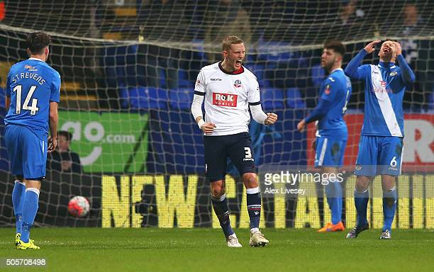 Dean Moxey of Bolton Wanderers celebrates scoring his team's second goal during the Emirates FA Cup Third Round Replay match between Bolton Wanderers...