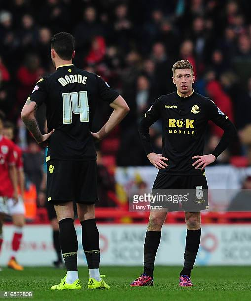 Dean Moxey of Bolton Wanderers reacts as Scott Wagstaff of Bristol City scores his sides fourth goal during the Sky Bet Championship match between...