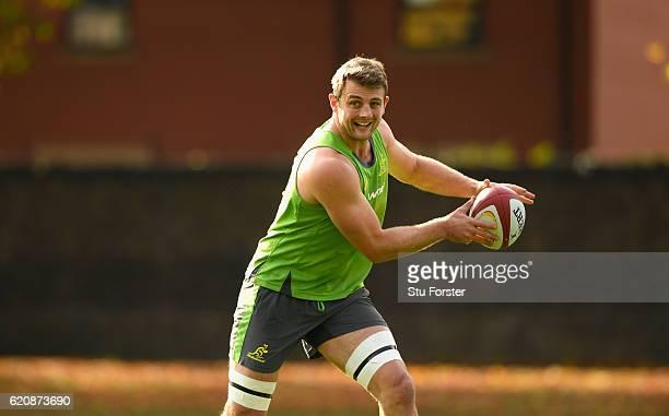Dean Mumm in action during Qantas Australia Wallabies training ahead of their International against Wales at Sophia Gardens on November 3 2016 in...