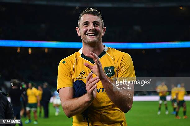 Dean Mumm of Australia celebrates following his side's victory during the Rugby Championship match between Argentina and Australia at Twickenham...