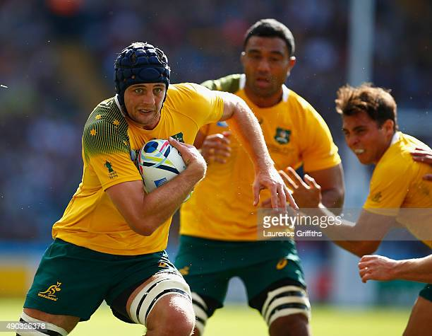 Dean Mumm of Australia in action during the 2015 Rugby World Cup Pool A match between Australia and Uruguay at Villa Park on September 27 2015 in...