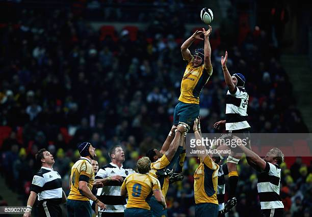 Dean Mumm of Australia wins lineout ball during the 1908 2008 London Olympic Centenary match between The Barbarians and Australia at Wembley Stadium...