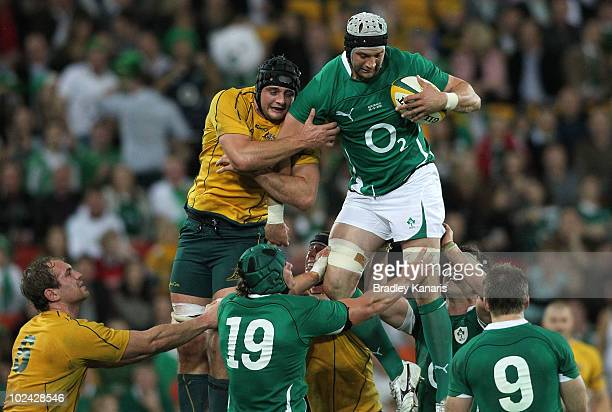 Dean Mumm of the Wallabies and Dan Tuohy of the Irish compete at the lineout during the Lansdowne Cup Test Match between the Australian Wallabies and...