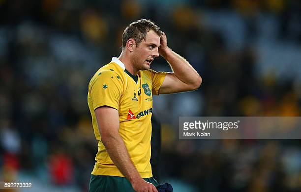 Dean Mumm of the Wallabies looks dejected after the Bledisloe Cup Rugby Championship match between the Australian Wallabies and the New Zealand All...