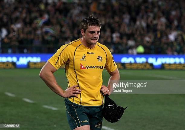 Dean Mumm of the Wallabies looks dejected following their defeat during the 2010 TriNations match between the South African Springboks and the...