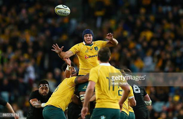 Dean Mumm of the Wallabies wins line out ball during the Bledisloe Cup Rugby Championship match between the Australian Wallabies and the New Zealand...