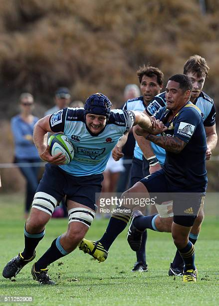 Dean Mumm of the Waratahs on the charge during the Super Rugby trial match between the Highlanders and the Waratahs at the Queenstown Recreation...