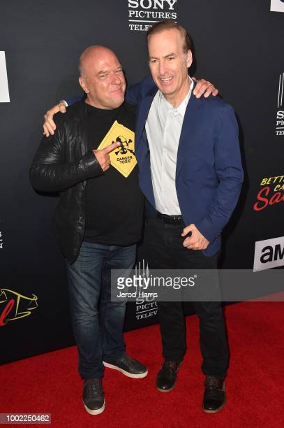 Dean Norris and Bob Odenkirk attend AMC's 'Better Call Saul' Season 4 Premiere at UA Horton Plaza 8 on July 19 2018 in San Diego California