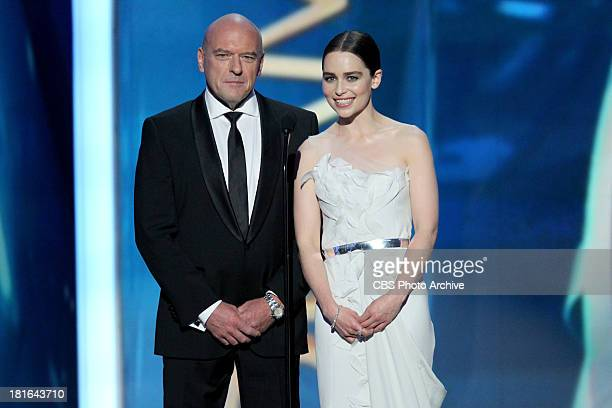 Dean Norris and Emilia Clarke during the 65th Primetime Emmy Awards which will be broadcast live across the country 8:00-11:00 PM ET/ 5:00-8:00 PM PT...