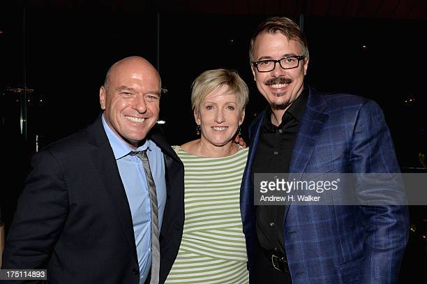 Dean Norris Holly Rice and Vince Gilligan attend the 'Breaking Bad' NY Premiere 2013 after party at Lincoln Ristorante on July 31 2013 in New York...