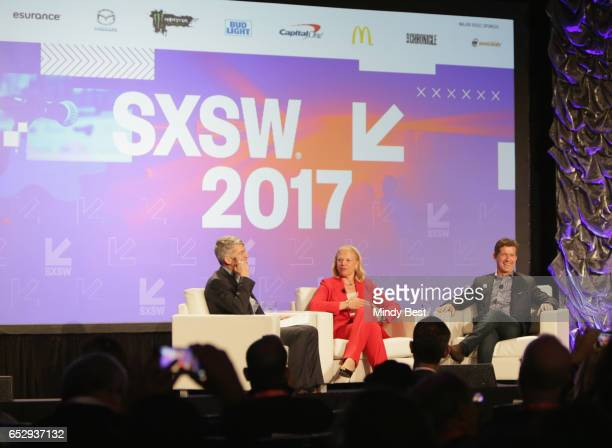 Dean of Dell Medical School Clay Johnston CEO of IBM Ginni Rometty and Chief Executive Officer of Johnson Johnson Alex Gorsky speak onstage at...