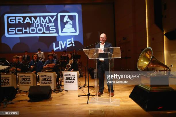 Dean of The New School for Jazz and Contemporary Music Keller Coker speaks on stage at the GRAMMY Museum®'s ninth annual GRAMMY In The Schools® Live...