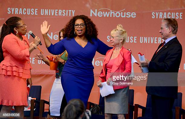 Dean of the S I Newhouse School of Public Communication Lorraine Branham Oprah Winfrey Kari Clark and and Alan Gerry founder of Cablevision...