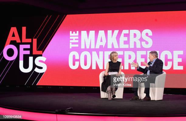 Dean of the USC Annenberg School for Communication Journalism Willow Bay and Chief Content Officer Netflix Ted Sarandos speak onstage during The 2019...