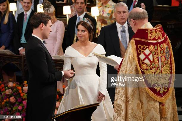 Dean of Windsor David Conner presides over the wedding ceremony of Princess Eugenie of York and Mr Jack Brooksbank at St George's Chapel on October...