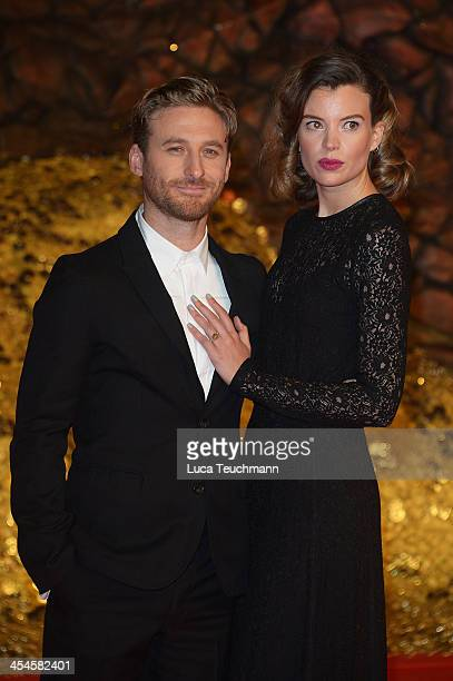 Dean O'Gorman and Sarah Wilson attend the German premiere of the film 'The Hobbit: The Desolation Of Smaug' at Sony Centre on December 9, 2013 in...