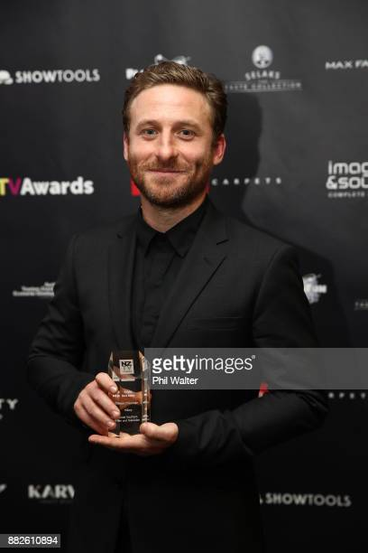 Dean O'Gorman with the award for Best Actor during the NZ TV Awards at Sky City on November 30 2017 in Auckland New Zealand