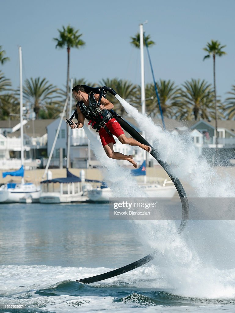 Jetpack Pilot Demonstrates Jet Device To Be Used For Record 26-Mile Attempt : News Photo