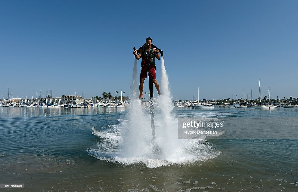 Dean O'Malley rises above the water using a JetLev, a water-powered jetpack flying machine in the Newport Beach harbor on September 25, 2012 in Newport Beach, California. O'Malley will attempt to establish a new world record for flight of the JeLev by making a 26 mile open ocean crossing from Newport Beach to Avalon, Catalina Island on September, 29, 2012.