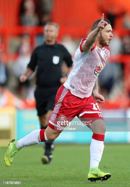 Dean Parrett of Stevenage celebrates after he scores his sides first goal during the Carabao Cup First Round match between Stevenage and Southend...