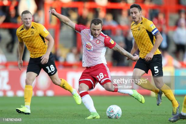 Dean Parrett of Stevenage scores his sides first goal during the Carabao Cup First Round match between Stevenage and Southend United at The Lamex...