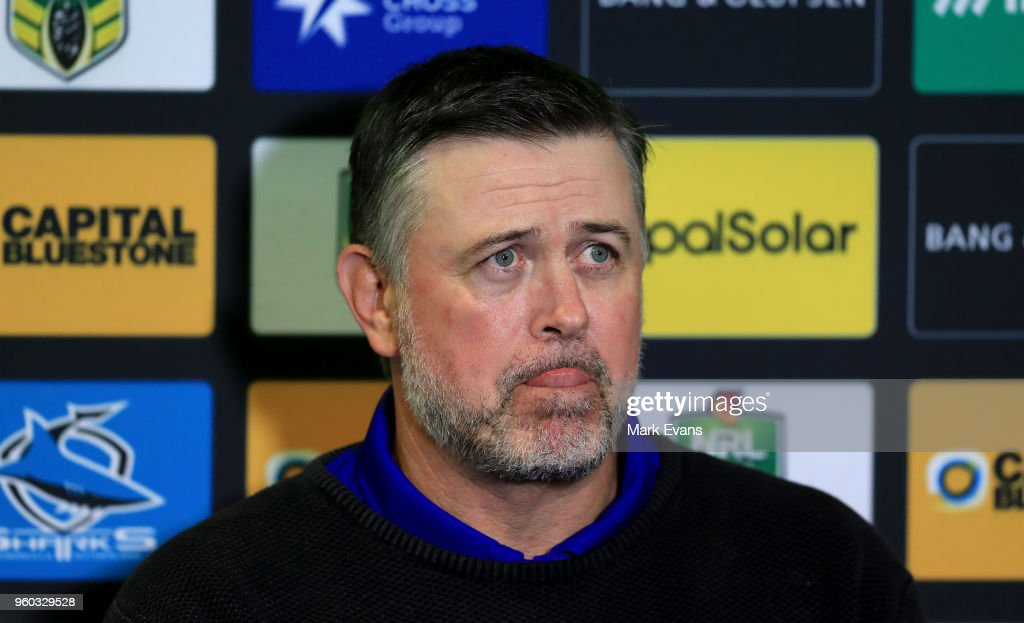 Dean Pay, Coach of the Bulldogs talks to the media after the round 11 NRL match between the Cronulla Sharks and the Canterbury Bulldogs at Southern Cross Group Stadium on May 20, 2018 in Sydney, Australia.