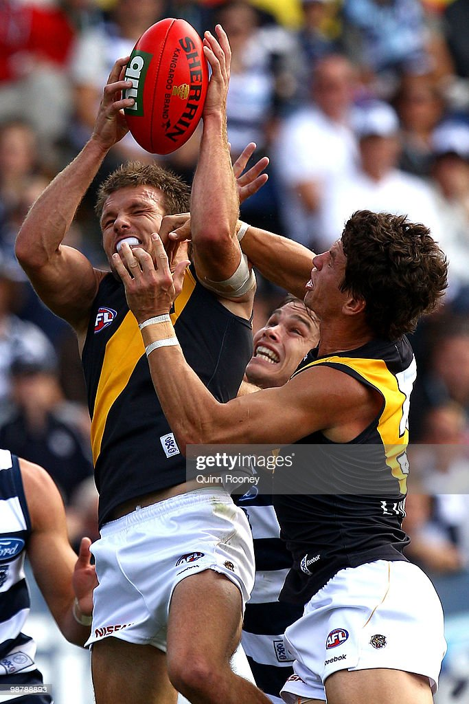 Dean Polo of the Tigers marks during the round six AFL match between the Geelong Cats and the Richmond Tigers at Skilled Stadium on May 2, 2010 in Melbourne, Australia.
