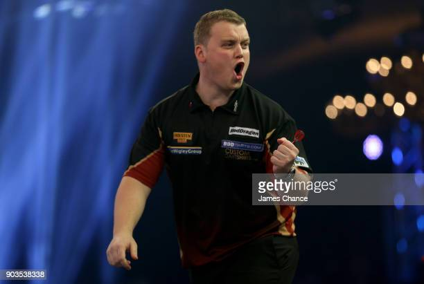 Dean Reynolds of Wales celebrates during Day Four of the BDO World Darts Championship at Lakeside Shopping Centre on January 10 2018 in Thurrock...
