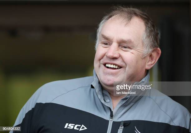 Dean Richards Director of Rugby for Newcastle Falcons is seen during the European Rugby Challenge Cup match between Newcastle Falcons and EniseiSTM...