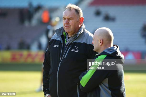 Dean Richards director of Rugby for the Newcastle Falcons watches on prior to the Aviva Premiership match between Harlequins and Newcastle Falcons at...