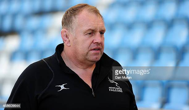 Dean Richards Newcastle Falcons' Director of Rugby arrives at the ground prior to the European Rugby Challenge Cup match between Exeter Chiefs and...