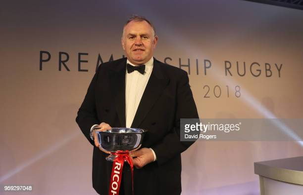 Dean Richards of Newcastle Falcons poses after winning the Ricoh Director of Rugby of the Season award during the Premiership Rugby Awards 2018 at...