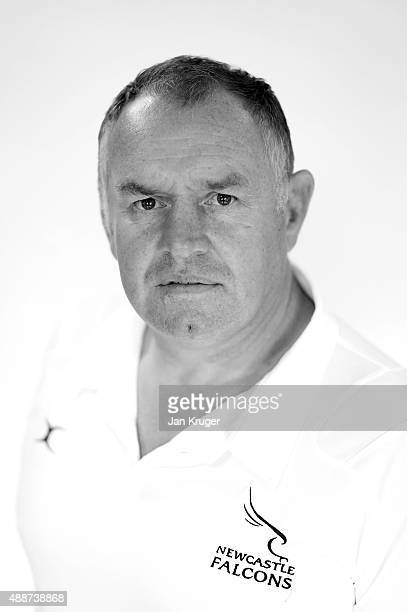 Dean Richards of Newcastle Falcons poses for a portrait at the photocall held at Kingston Park on September 17 2015 in Newcastle upon Tyne England