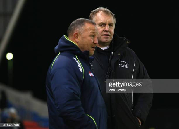 Dean Richards the Director of Rugby at Newcastle Falcons and Steve Diamond the Director of Rugby at Sale Sharks chat prior to the Aviva Premiership...
