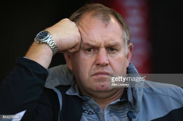 Dean Richards the Director of Rugby at Newcastle Falcons looks on during the Aviva Premiership match between Sale Sharks and Newcastle Falcons at AJ...