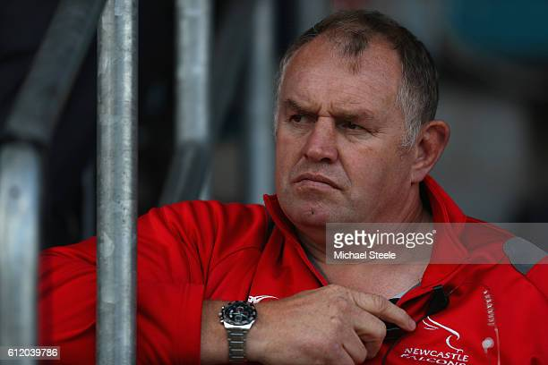Dean Richards the Director of Rugby of Newcastle looks on during the Aviva Premiership match between Worcester Warriors and Newcastle Falcons at...