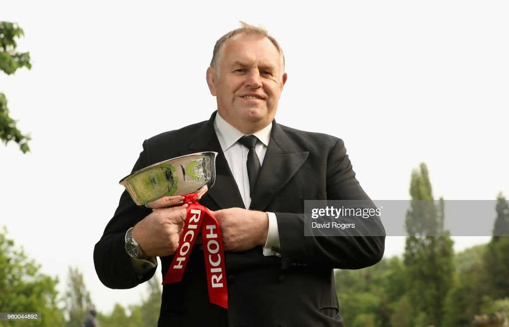 Dean Richards, the Newcastle Falcons director of rugby poses with the Ricoh Director of Rugby of the Season award during the Premiership Rugby Awards 2018 on May 16, 2018 in London, England.