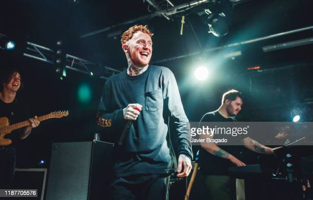 Dean Richardson Frank Carter and Tom 'Tank' Barclay from the band 'Frank Carter and The Rattlesnakes' perform on stage at Sala Mon on November 14...